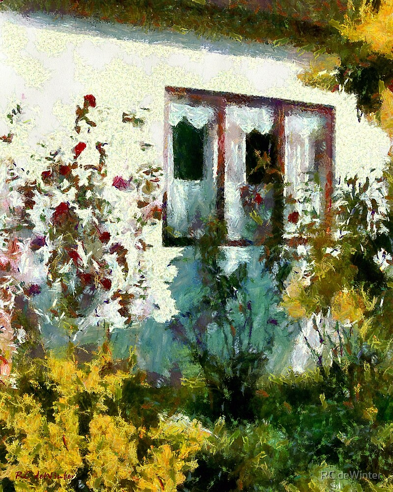 Red Roses, White Wall by RC deWinter