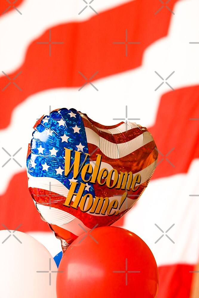 Welcome Home Balloon Against an American Flag by Buckwhite