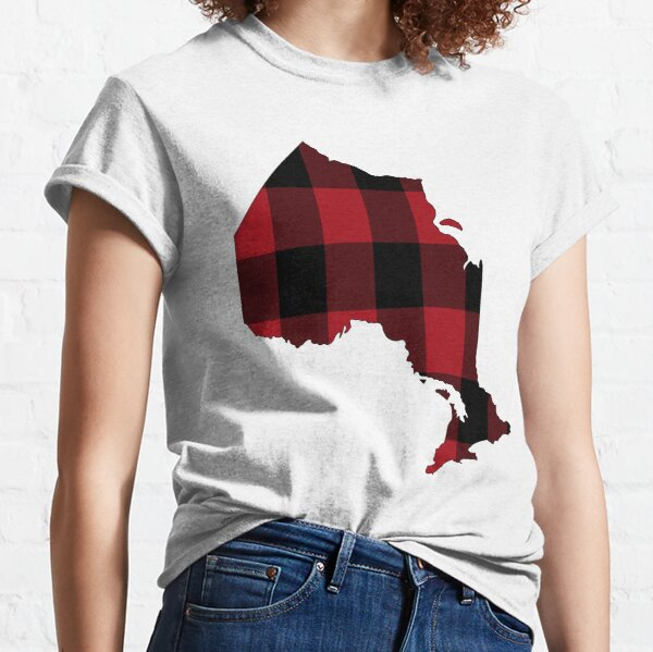 Ontario in Red Plaid Classic T-Shirt