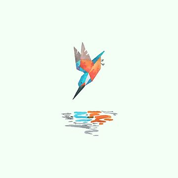 Low poly watercolor - Kingfisher by scarriebarrie