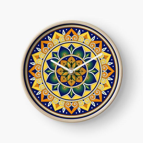 Italian Tile Pattern – Peacock motifs majolica from Deruta Clock