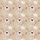 Love Letters Gold Key Pink Rose Pattern by GypseaDesigns