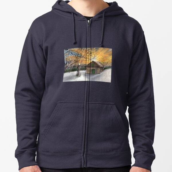 Refuge in the winter snow Zipped Hoodie