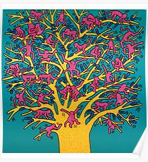 Keith Haring - Colorful tree Poster