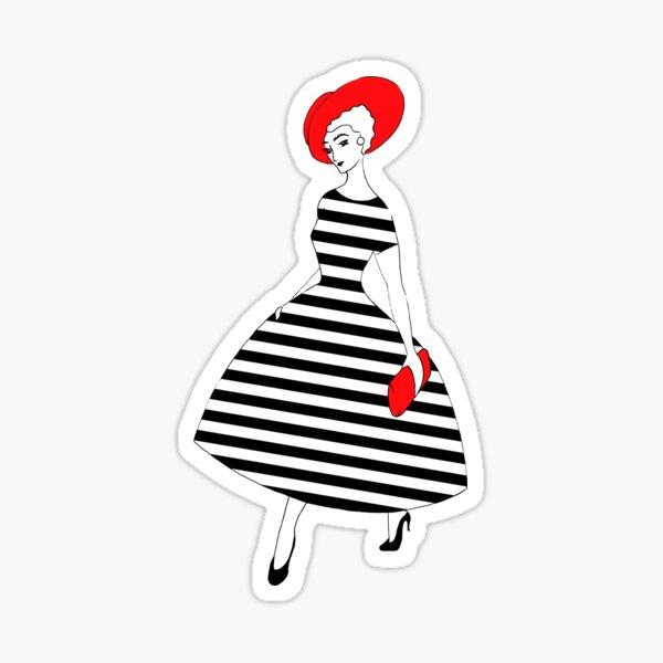 Parisienne - Schwarze und weiße Streifen, roter Hut Sticker