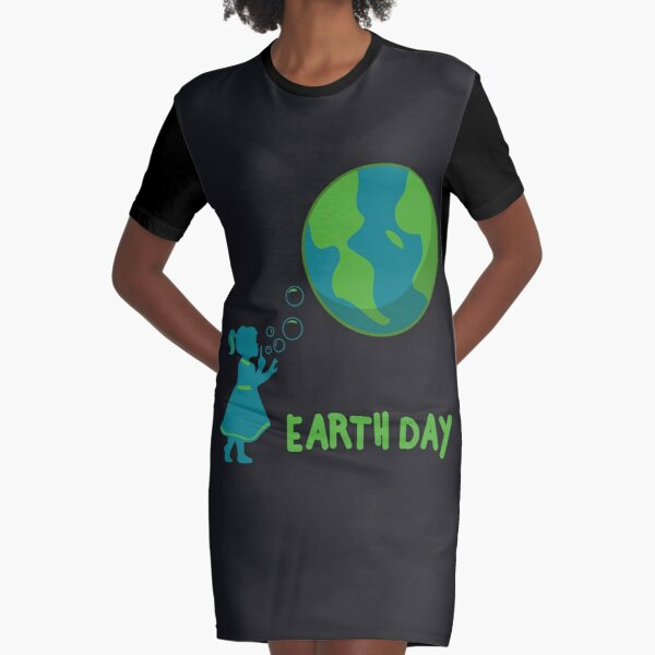 Earth Day Art | Cute Girls' Mother Earth Costume Art Gift Graphic T-Shirt Dress