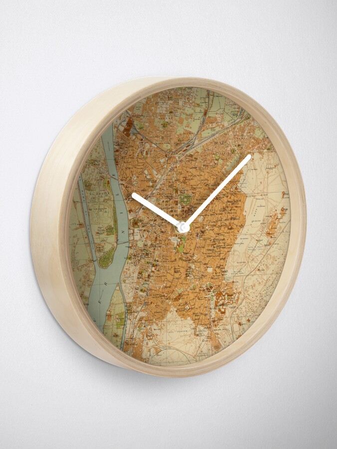 Alternate view of Vintage Map of Cairo Egypt (1920) Clock