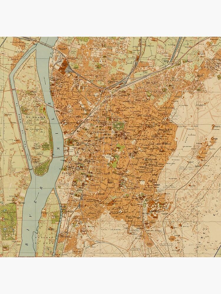 Vintage Map of Cairo Egypt (1920) by BravuraMedia
