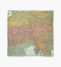 Vintage Map of The Austrian Alps (1916) Scarf
