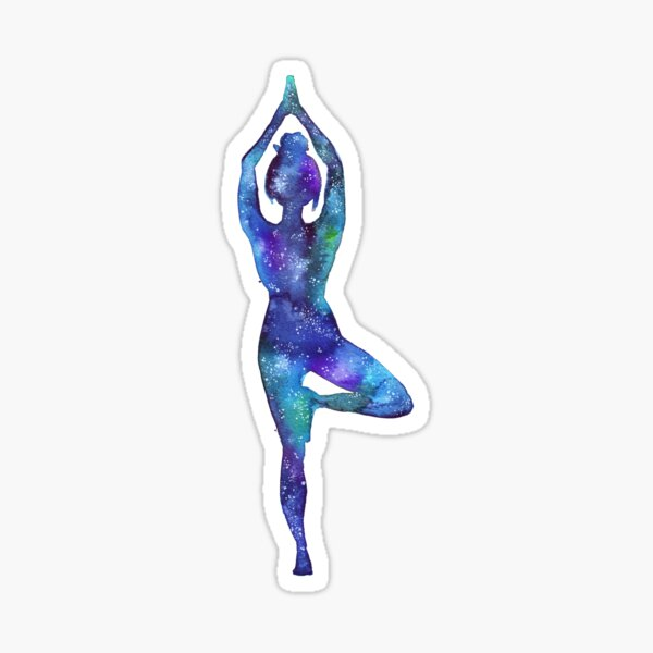 Tree pose - yoga galaxy Sticker