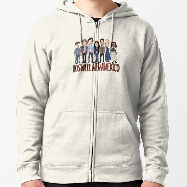 Roswell New Mexico Cast Cartoon Zipped Hoodie