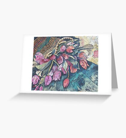 Tulips in Basket Greeting Card