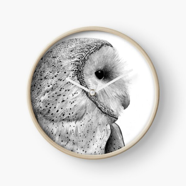 Majestic Snow Owl Drawing Clock