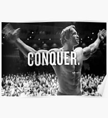 "Arnold Schwarzenegger ""Conquer"" Motivational Fitness Poster"