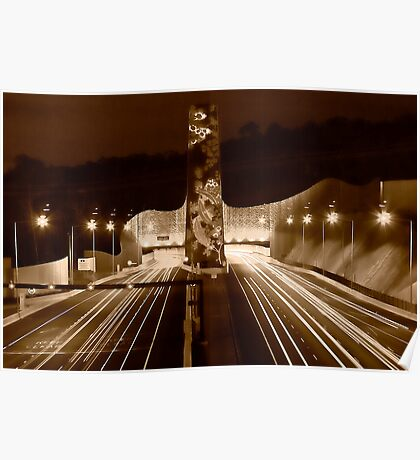 Night at Melba Tunnel in Sepia Poster