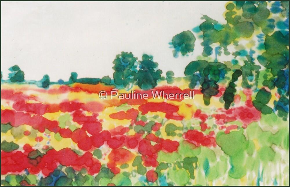 Poppyfield on silk by © Pauline Wherrell