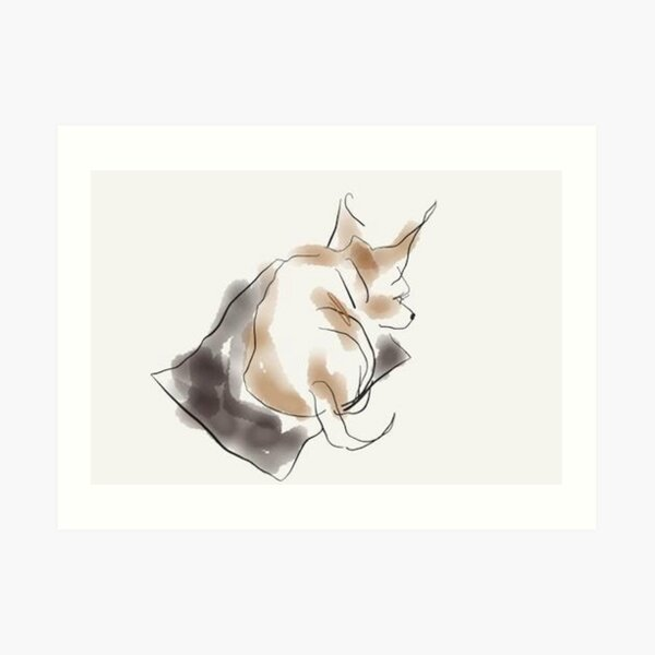 Dog, cute, small sleeping puppy painted in watercolor Art Print