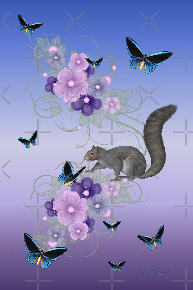 Playful Squirrel and the Butterflies by LoneAngel