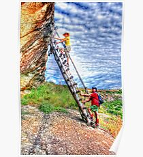 Hikers on a ladder Holhoek Hiking Trail Poster