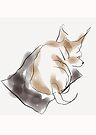 Dog, cute, small sleeping puppy painted in watercolor by Angie Stimson