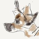 Cute puppy dog, a watercolor brown on a white background  by Angie Stimson