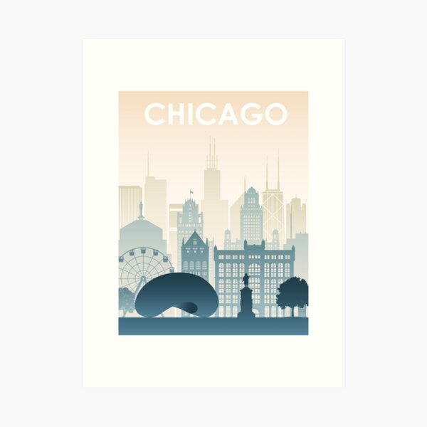 Chicago Skyline Printable Wall Art. Pastel Color Chicago Skyline. Art Print