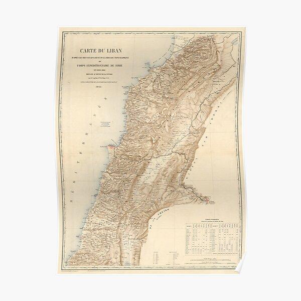 Carte ancienne du Liban (1862) Poster