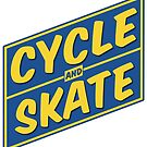 Cycle and Skate – Slant Box Design Blue and Gold Color by strayfoto