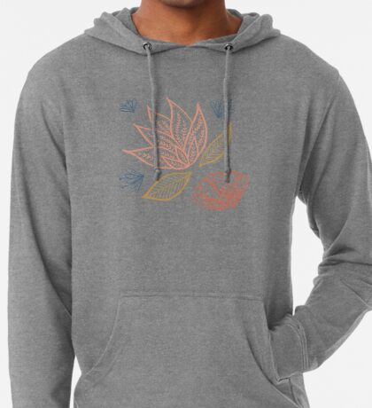 Bohemian Florals - Blue + Coral Lightweight Hoodie