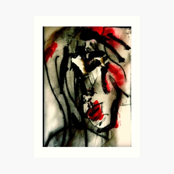 Abstract Portrait of woman's face in bold red and black, 'Listening to Tom Waits' Art Print