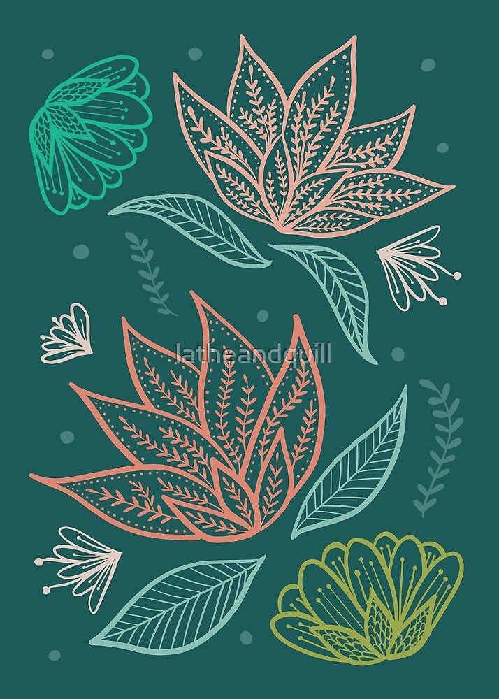 Bohemian Florals - Teal by latheandquill