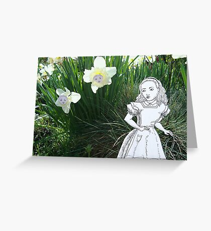 Alice and the Talking Flowers Greeting Card