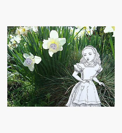 Alice and the Talking Flowers Photographic Print