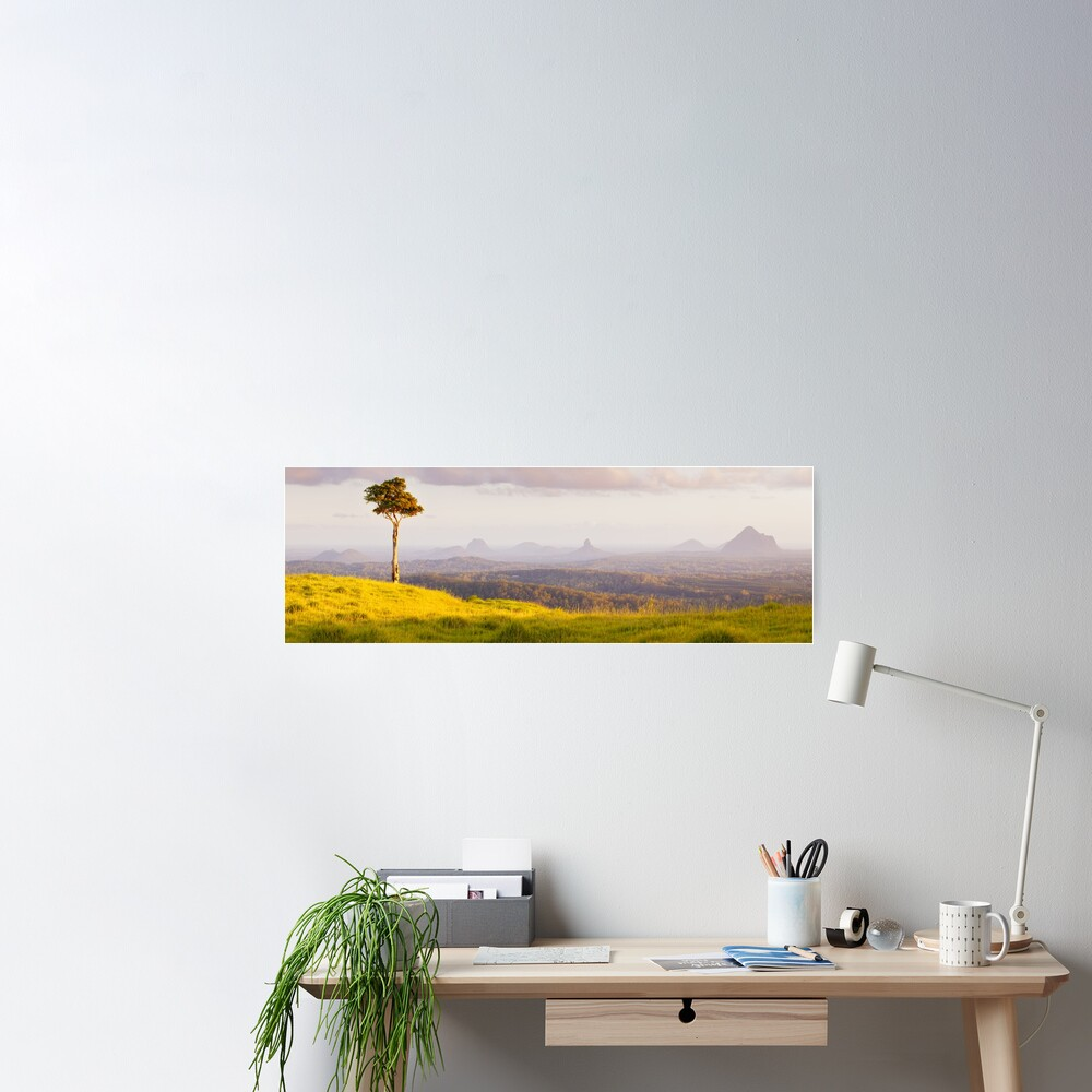 One Tree Hill, Glass House Mountains, Queensland, Australia Poster