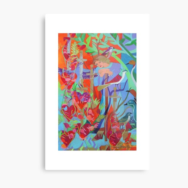 Seven of Flowering Hearts giclee with borders Metal Print
