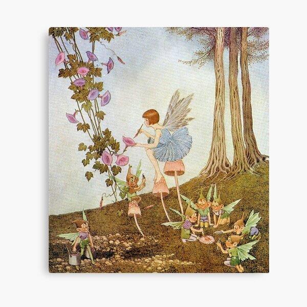 Periwinkle Painting the Petals - Ida Rentoul Outhwaite Canvas Print