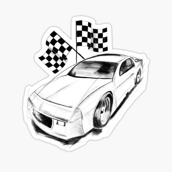 NASCAR Automotive Concept Race Car With Racing Flags Sticker