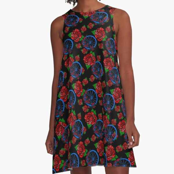 Wheel Rose Deadhead Repeat Pattern Grateful Dead Design A-Line Dress