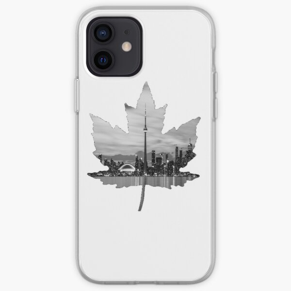 Maple Leaf With Black and White Toronto Skyline Photo iPhone Soft Case