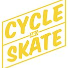 Cycle and Skate – Slant Box Design Transparent - Single Color for Dark Shirts by strayfoto