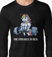 Der Kampf ist reales Einhorn-T-Shirt für Sport-Liebe Langarmshirt