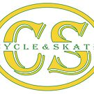 Cycle and Skate Oval CS Design Transparent and Gold – For Dark Shirts by strayfoto