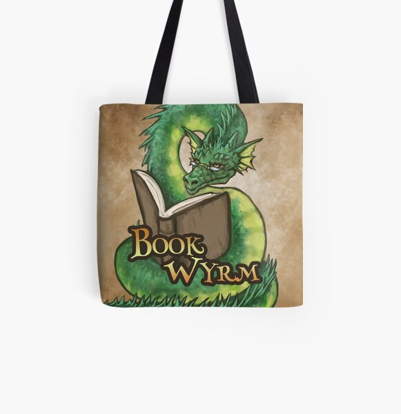 Book Wyrm (Green) All Over Print Tote Bag