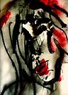 Abstract Portrait of woman's face in bold red and black, 'Listening to Tom Waits' by Angie Stimson
