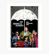 The whole Umbrella Academy - white and color Art Print