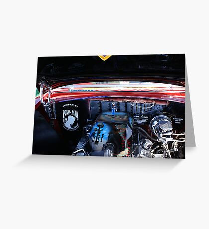 Service, Honor, Dignity & Power; Engine; Dignity Memorial Vietnam Wall Car Show Cal High, Whittier, CA USA Greeting Card