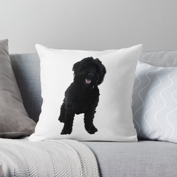 Black Goldendoodle Throw Pillow