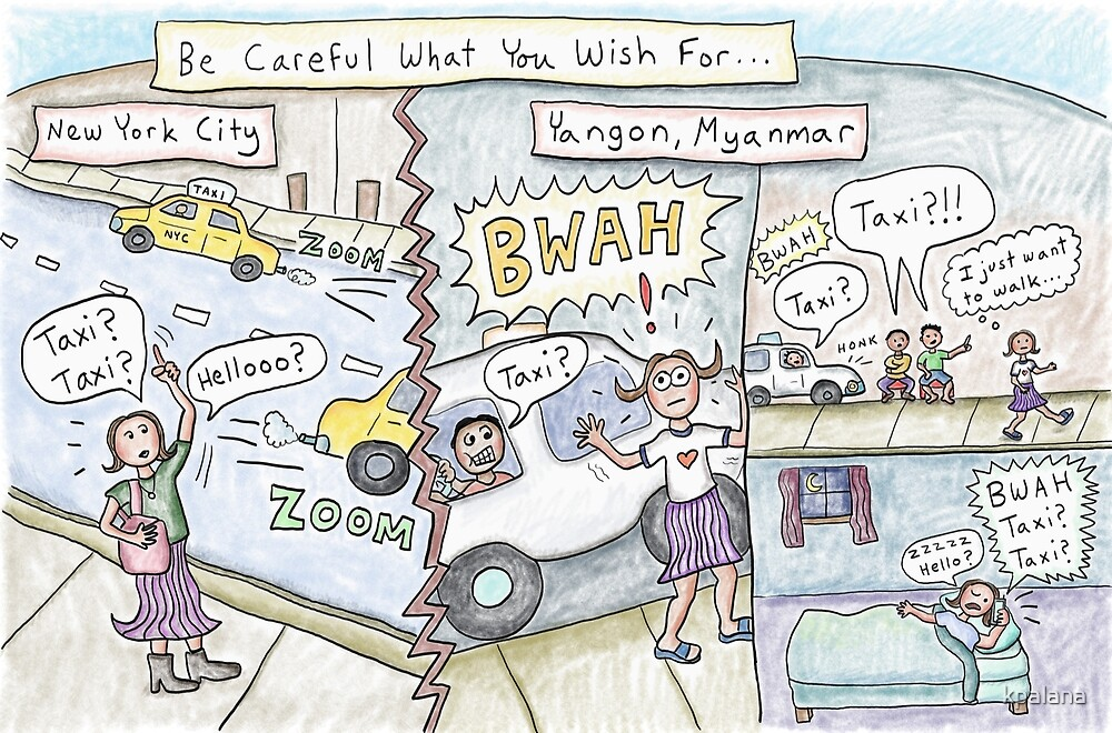 Taxis in Yangon, Myanmar vs. New York City by Kristen Palana