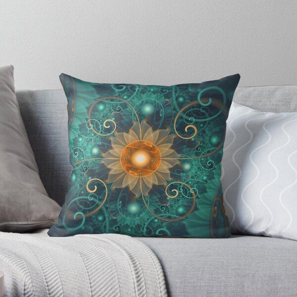 Beautiful Tangerine Orange and Teal Lotus Fractals Throw Pillow