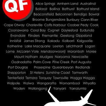 QANTAS Boeing 737-800 Fleet Names (White Print) by Auchmithie49